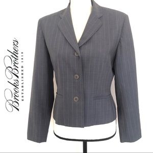 Brooks Brothers Grey Striped Wool Blend Blazer